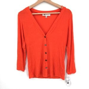 NEW Fever Button-Front ribbed top sweater Shirt lightweight Orange XS women's